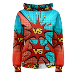 Comic Book VS with Colorful Comic Speech Bubbles  Women s Pullover Hoodie