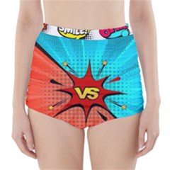 Comic Book VS with Colorful Comic Speech Bubbles  High-Waisted Bikini Bottoms