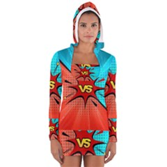 Comic Book VS with Colorful Comic Speech Bubbles  Women s Long Sleeve Hooded T-shirt