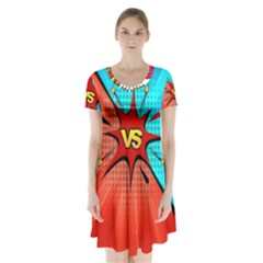 Comic Book VS with Colorful Comic Speech Bubbles  Short Sleeve V-neck Flare Dress