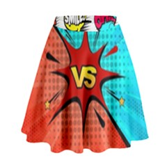Comic Book VS with Colorful Comic Speech Bubbles  High Waist Skirt
