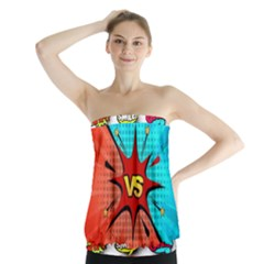 Comic Book VS with Colorful Comic Speech Bubbles  Strapless Top