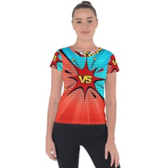 Comic Book Vs With Colorful Comic Speech Bubbles  Short Sleeve Sports Top