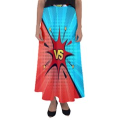 Comic Book Vs With Colorful Comic Speech Bubbles  Flared Maxi Skirt