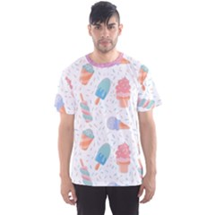 Hand Drawn Ice Creams Pattern In Pastel Colorswith Pink Watercolor Texture  Men s Sports Mesh Tee