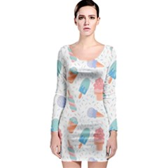Hand Drawn Ice Creams Pattern In Pastel Colorswith Pink Watercolor Texture  Long Sleeve Bodycon Dress