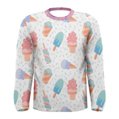 Hand Drawn Ice Creams Pattern In Pastel Colorswith Pink Watercolor Texture  Men s Long Sleeve Tee