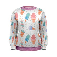 Hand Drawn Ice Creams Pattern In Pastel Colorswith Pink Watercolor Texture  Women s Sweatshirt
