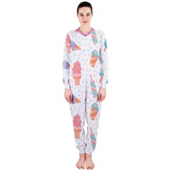 Hand Drawn Ice Creams Pattern In Pastel Colorswith Pink Watercolor Texture  OnePiece Jumpsuit (Ladies)