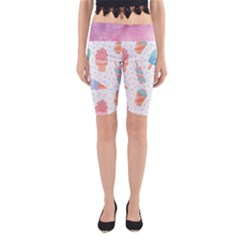 Hand Drawn Ice Creams Pattern In Pastel Colorswith Pink Watercolor Texture  Yoga Cropped Leggings