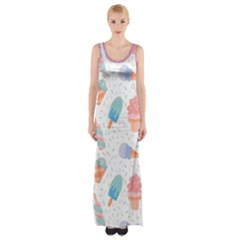 Hand Drawn Ice Creams Pattern In Pastel Colorswith Pink Watercolor Texture  Maxi Thigh Split Dress