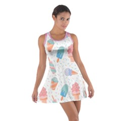 Hand Drawn Ice Creams Pattern In Pastel Colorswith Pink Watercolor Texture  Cotton Racerback Dress
