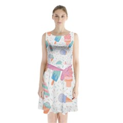 Hand Drawn Ice Creams Pattern In Pastel Colorswith Pink Watercolor Texture  Sleeveless Waist Tie Chiffon Dress