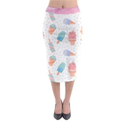 Hand Drawn Ice Creams Pattern In Pastel Colorswith Pink Watercolor Texture  Midi Pencil Skirt