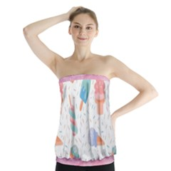 Hand Drawn Ice Creams Pattern In Pastel Colorswith Pink Watercolor Texture  Strapless Top