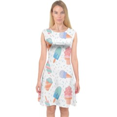 Hand Drawn Ice Creams Pattern In Pastel Colorswith Pink Watercolor Texture  Capsleeve Midi Dress