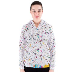 Colored Stains Pattern With Abstract Paint Splats  Women s Zipper Hoodie