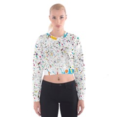 Colored Stains Pattern with Abstract Paint Splats  Cropped Sweatshirt