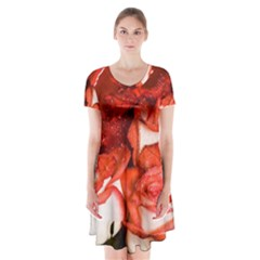 Nice Rose With Water Short Sleeve V-neck Flare Dress