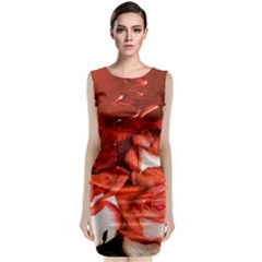 Nice Rose With Water Classic Sleeveless Midi Dress