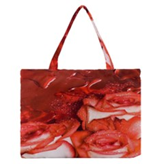 Nice Rose With Water Medium Zipper Tote Bag