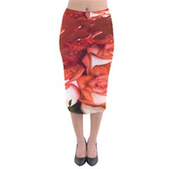 Nice Rose With Water Velvet Midi Pencil Skirt