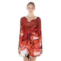 Nice Rose With Water Long Sleeve Velvet V Neck Dress