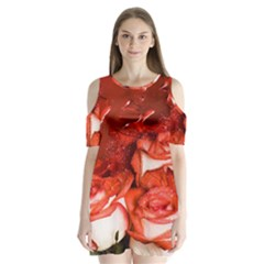 Nice Rose With Water Shoulder Cutout Velvet  One Piece
