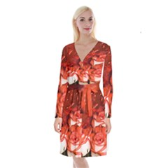 Nice Rose With Water Long Sleeve Velvet Front Wrap Dress