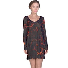 Volcanic Textures Long Sleeve Nightdress