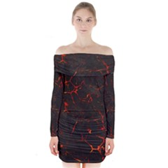 Volcanic Textures Long Sleeve Off Shoulder Dress