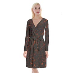 Volcanic Textures Long Sleeve Velvet Front Wrap Dress