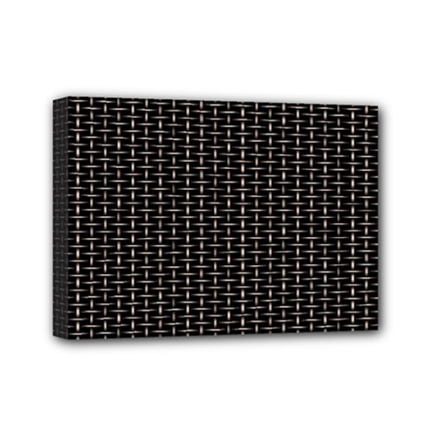 Dark Black Mesh Patterns Mini Canvas 7  X 5