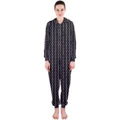Dark Black Mesh Patterns Hooded Jumpsuit (Ladies)