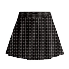 Dark Black Mesh Patterns Mini Flare Skirt
