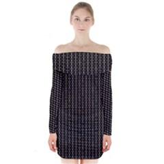 Dark Black Mesh Patterns Long Sleeve Off Shoulder Dress