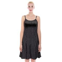 Dark Black Mesh Patterns Spaghetti Strap Velvet Dress
