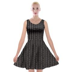 Dark Black Mesh Patterns Velvet Skater Dress