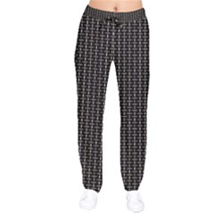 Dark Black Mesh Patterns Drawstring Pants