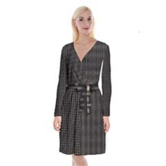 Dark Black Mesh Patterns Long Sleeve Velvet Front Wrap Dress