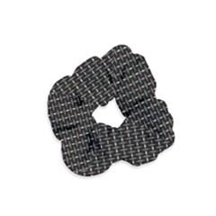 Dark Black Mesh Patterns Velvet Scrunchie
