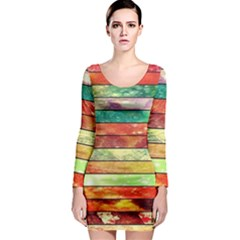 Stripes Color Oil Long Sleeve Bodycon Dress