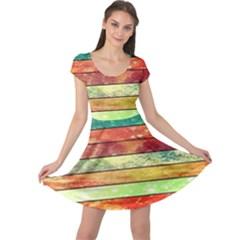 Stripes Color Oil Cap Sleeve Dresses