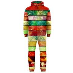Stripes Color Oil Hooded Jumpsuit (Men)