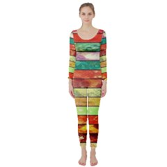 Stripes Color Oil Long Sleeve Catsuit
