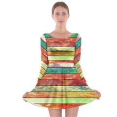 Stripes Color Oil Long Sleeve Skater Dress
