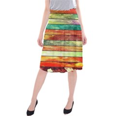 Stripes Color Oil Midi Beach Skirt