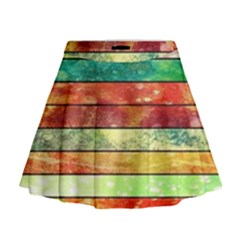 Stripes Color Oil Mini Flare Skirt