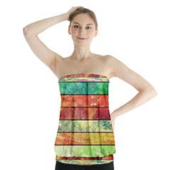 Stripes Color Oil Strapless Top