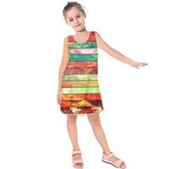 Stripes Color Oil Kids  Sleeveless Dress